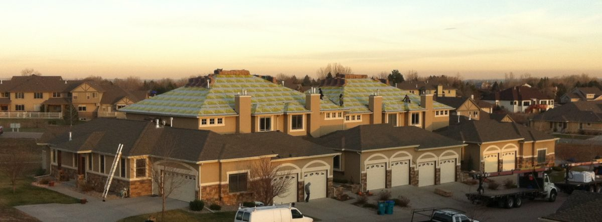 roofing and garages in townhome complex