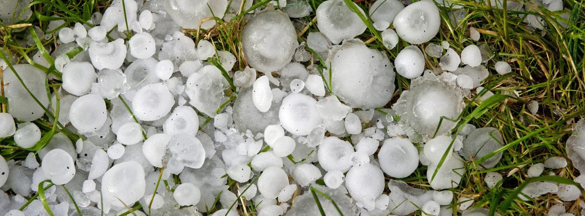 close up of large hail dime, nickel, quarter balls